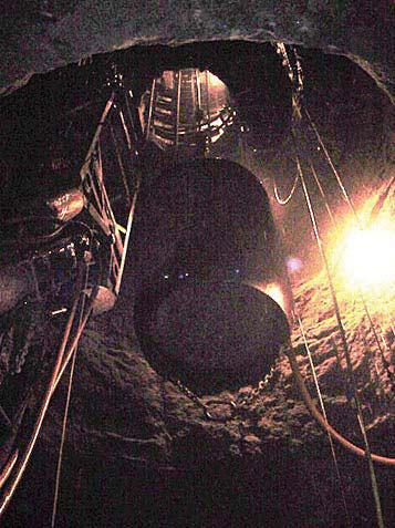 Elevator shaft breakthrough at 650 feet below ground surface